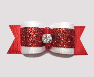 "#2527- 5/8"" Dog Bow- Classic Glamor, Rich Red Glitter,Rhinestone"