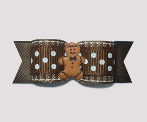 "#2529- 5/8"" Dog Bow- Chocolate with White Sprinkles, Gingerbread"