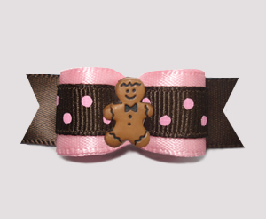 "#2530 - 5/8"" Dog Bow - Chocolate & Strawberry Dots, Gingerbread"