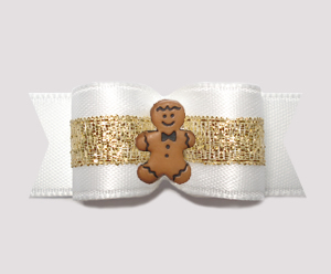 "#2533 - 5/8"" Dog Bow - Angelic White & Gold, Sweet Gingerbread"