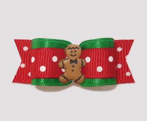 "#2537 - 5/8"" Dog Bow - Festive Dots, Gingerbread Man"