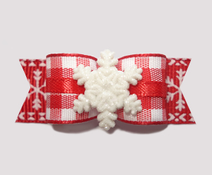 "#2538 - 5/8"" Dog Bow - Country Winter, White Snowflake"