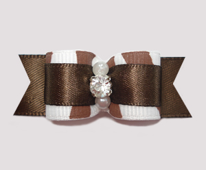 "#2544 - 5/8"" Dog Bow - Zowie Zebra, Chocolate Brown on Brown"