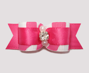 "#2546 - 5/8"" Dog Bow - Zowie Zebra, Shocking Pink on Pink"