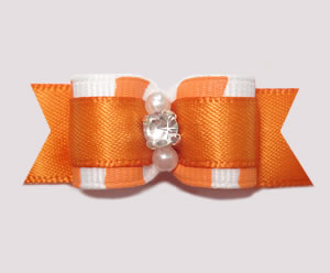 "#2547 - 5/8"" Dog Bow - Zowie Zebra, Tangerine Orange on Orange"