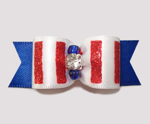 "#2551 - 5/8"" Dog Bow - Sparkly Stripes, Red/White 'n Blue"