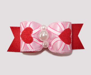 "#2560 - 5/8"" Dog Bow - Sweetheart Pink/Red, Shimmery Hearts"