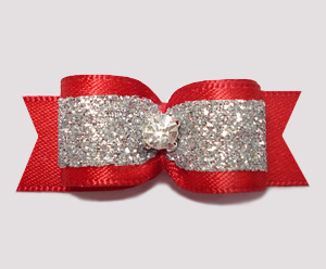 "#2562 - 5/8"" Dog Bow - Showy Red and Silver Glitter, Rhinestone"