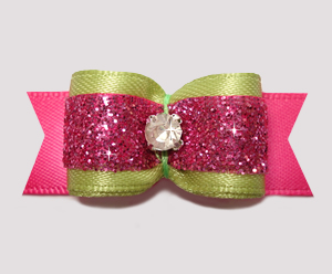 "#2570 - 5/8"" Dog Bow - Glam Green & Pink Glitter, Rhinestone"
