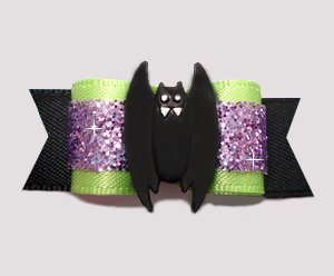 "#2572 - 5/8"" Dog Bow - Lime/Purple Glitter/Black, Spooky Bat"