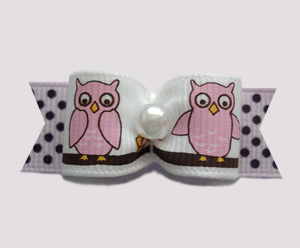 "#2573 - 5/8"" Dog Bow - Hoot Hoot, So Cute! Little Owls"