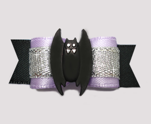 "#2576 - 5/8"" Dog Bow - Lavender/Silver/Black, Spooky Bat"