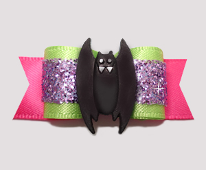 "#2577 - 5/8"" Dog Bow - Lime/Purple/Hot Pink, Spooky Bat"