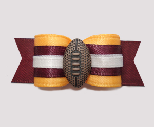 "#2578 - 5/8"" Dog Bow - Football, Yellow and Burgundy"