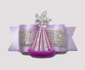 "#2584 - 5/8"" Dog Bow- Lavender/Silver, Elegant Party"