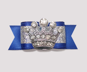 "#2592- 5/8"" Dog Bow - Sparkly Splendor, Regal Blue/Silver, Crown"
