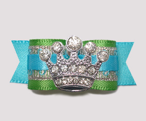 "#2599- 5/8"" Dog Bow- Celebrity Sparkle, Green/Blue/Silver, Crown"