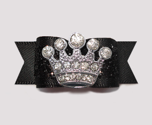 "#2607 5/8"" Dog Bow- Gorgeous Glitter, Classic Black, Bling Crown"