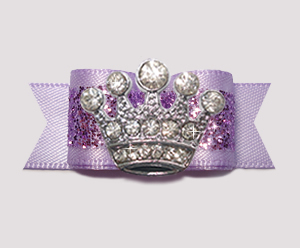 "#2608 - 5/8"" Dog Bow - Gorgeous Glitter, Lavender, Bling Crown"