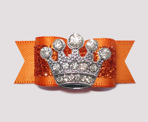 "#2609 - 5/8"" Dog Bow - Gorgeous Glitter, Orange, Bling Crown"