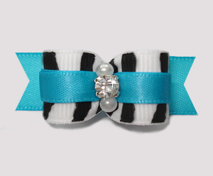 "#2612 - 5/8"" Dog Bow - Zebra and Electric Blue, Rhinestone"