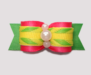 "#2615 - 5/8"" Dog Bow - Tropical Times, Hot Pink/Lemon Lime"