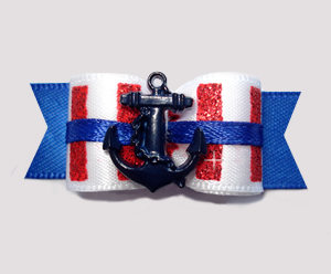 "#2619 - 5/8"" Dog Bow - Captain's Sparkly Stripes, Navy Anchor"