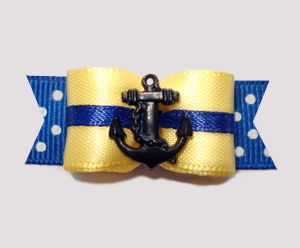 "#2620 - 5/8"" Dog Bow - Yacht Captain, Yellow/Blue, Navy Anchor"