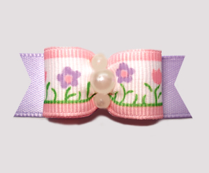 "#2622 - 5/8"" Dog Bow - Pretty Posies, Soft Pink/Lavender"