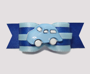"#2623 - 5/8"" Dog Bow - Zoom, Zoom, Here I Come! Cute Blue Car"