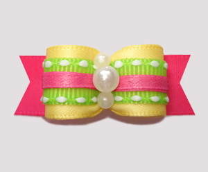 "#2625- 5/8"" Dog Bow- Summer Fun, Yellow/Hot Pink w/Twist of Lime"