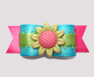 "#2626 - 5/8"" Dog Bow- Bloomin' Beautiful! Electric Blue/Hot Pink"