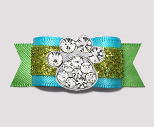 "#2629 - 5/8"" Dog Bow - Gorgeous Glitter, Blue/Green, Bling Paw"