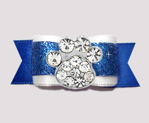 "#2631 - 5/8"" Dog Bow - Gorgeous Glitter, Blue/White, Bling Paw"