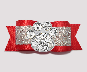 "#2632 - 5/8"" Dog Bow - Gorgeous Glitter, Red/Silver, Bling Paw"