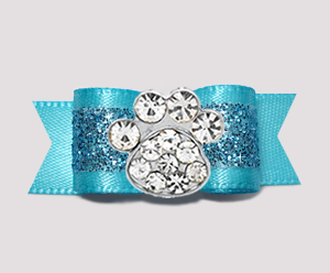 "#2633- 5/8"" Dog Bow - Gorgeous Glitter, Electric Blue, Bling Paw"