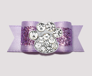"#2634 - 5/8"" Dog Bow - Gorgeous Glitter, Lavender, Bling Paw"