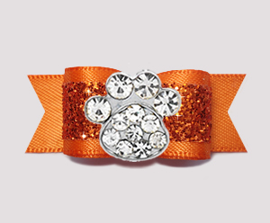 "#2636 - 5/8"" Dog Bow - Gorgeous Glitter, Orange, Bling Paw"