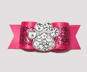 "#2637 - 5/8"" Dog Bow - Gorgeous Glitter, Hot Pink, Bling Paw"