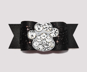 "#2638- 5/8"" Dog Bow - Gorgeous Glitter, Classic Black, Bling Paw"