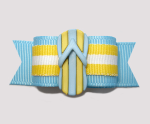 "#2640- 5/8"" Dog Bow - Beach Towel Stripe, Blue/Yellow Flip Flop"