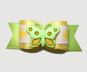 "#2641 - 5/8"" Dog Bow - Sunny Summer Butterfly, Yellow/Green"
