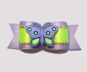 "#2644 - 5/8"" Dog Bow - Lavender 'n Lime, Lovely Butterfly"