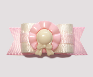 "#2650 - 5/8"" Dog Bow - Pretty Garden Party Hat, Cream/Soft Pink"