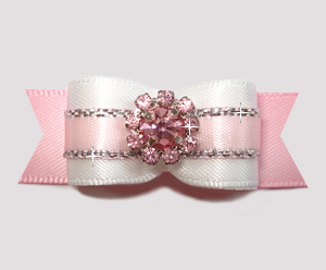 "#2654- 5/8"" Dog Bow - Princess Worthy! Pink Rhinestones Flower"