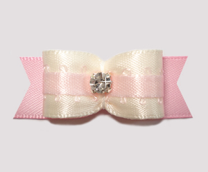 "#2657 - 5/8"" Dog Bow - Sweet & Special, Cream/Soft Pink"