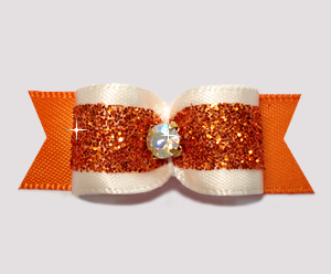 "#2660 - 5/8"" Dog Bow - Cream and Orange Glitter, Rhinestone"