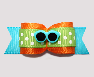 "#2662 - 5/8"" Dog Bow - Cool Summery Shades, Fun Multi-Color"