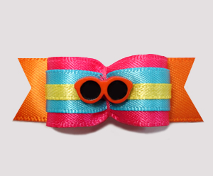 "#2664 - 5/8"" Dog Bow - Multi-Color, Bright Cool Summer Shades"