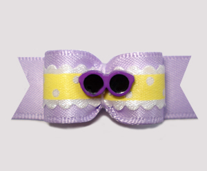 "#2665 - 5/8"" Dog Bow- Lovely Lavender with Sunny Ruffle & Shades"
